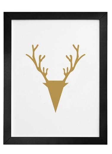 Nordbagen Deer Gold Poster Siyah
